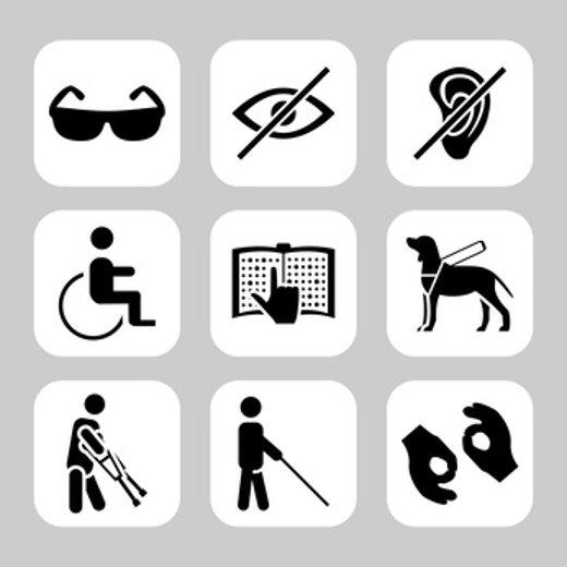 Symbole für körperliche Behinderungen © Mariyapvl, fotolia.com